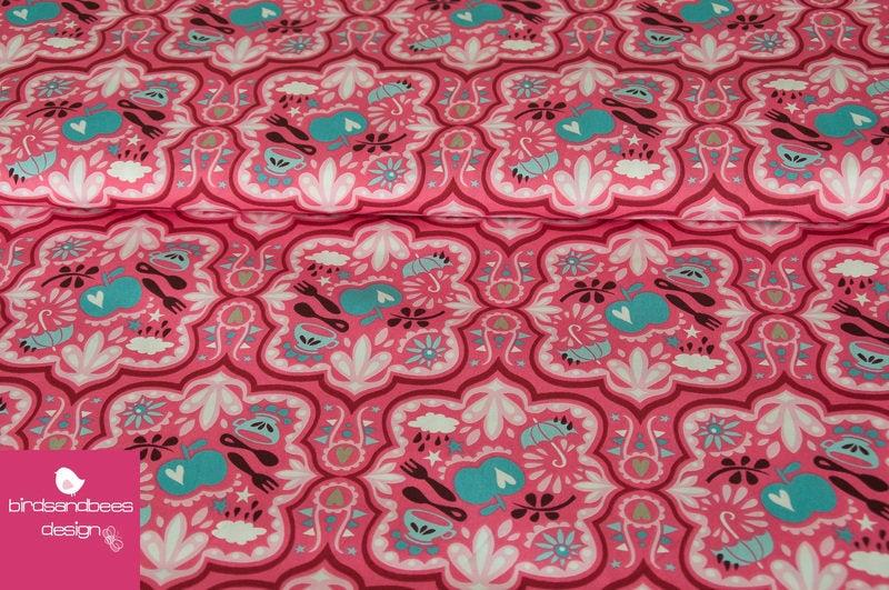HAMBURGERLIEBE Popeline FUNNY RAIN pink-helltürkis 2