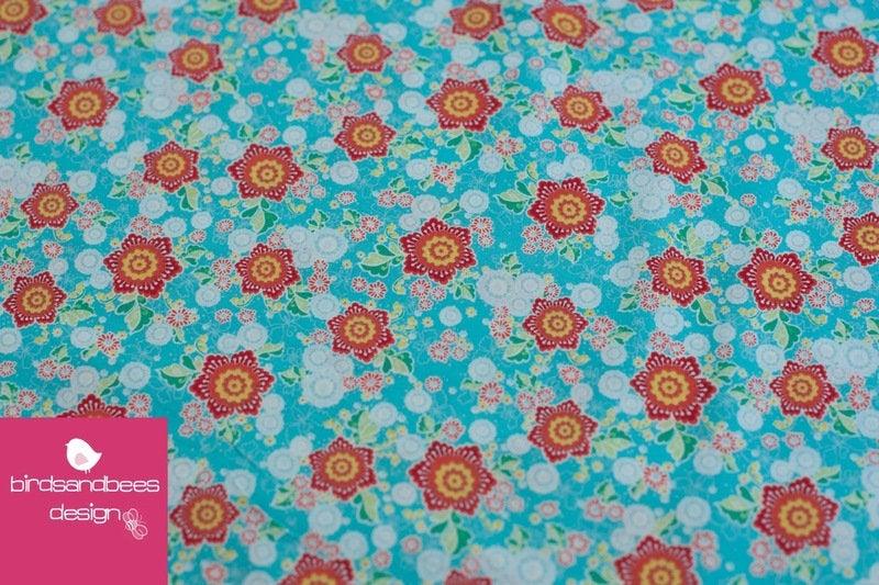 FLOWER PARADE Blümchen türkis 3