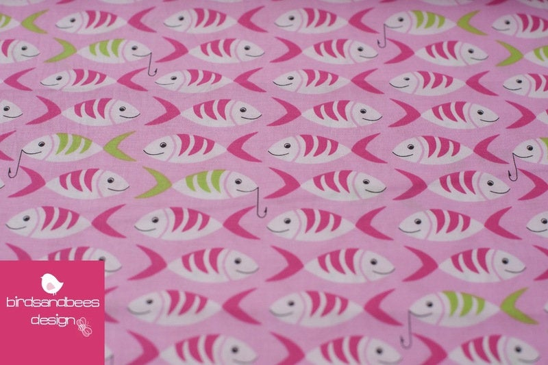 LITTLE FISHES pink by Michael Miller