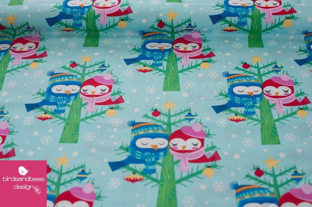 Christmas Lovebirds aqua by Michael Miller