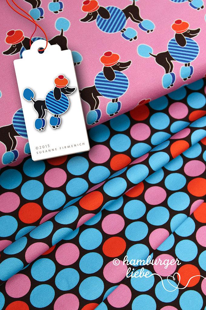 Pudel Punkte blau-rosa Jersey HHL