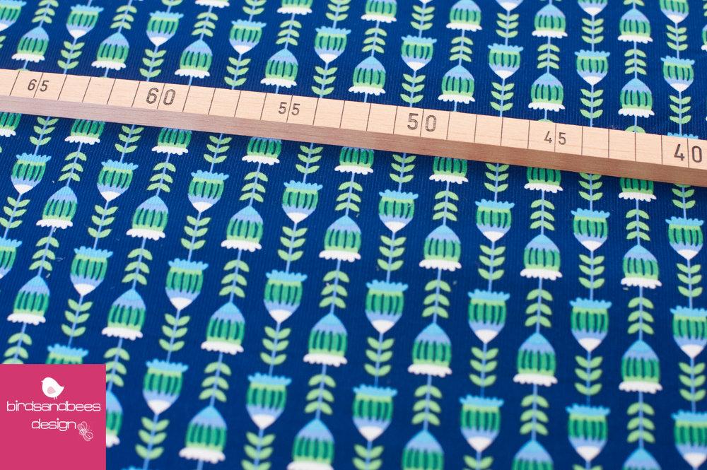Harvest Blossom Feincord Eicheln blau 3