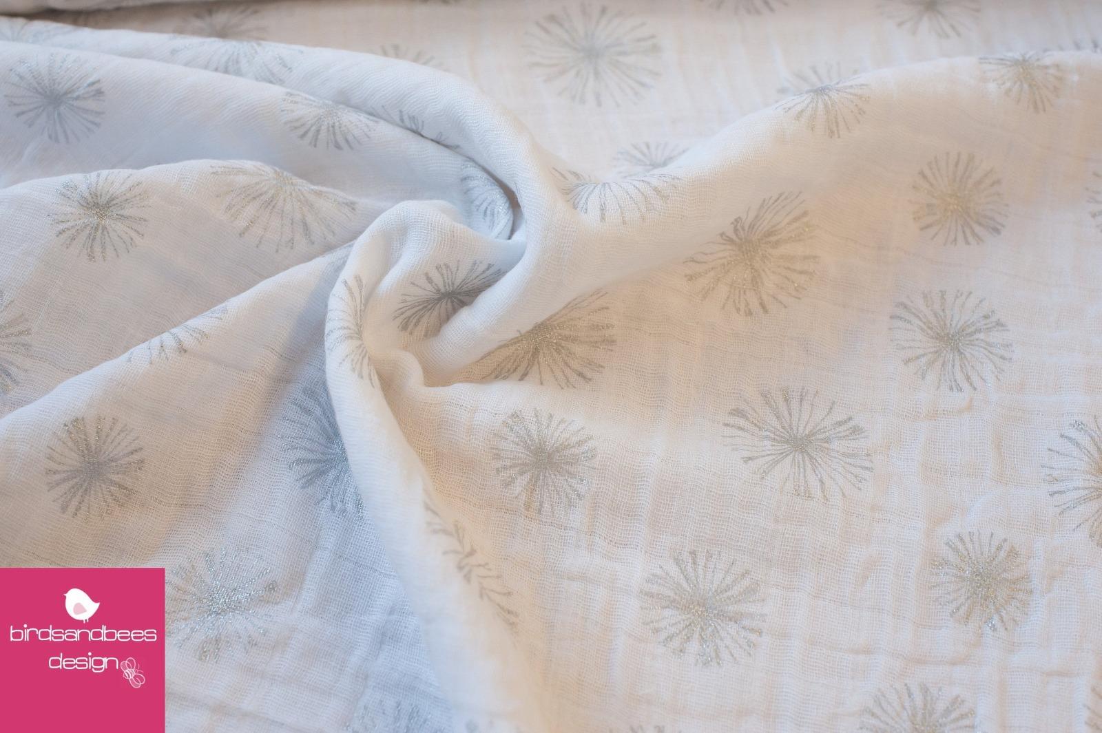 Double Gauze Pusteblumen weiß-silber