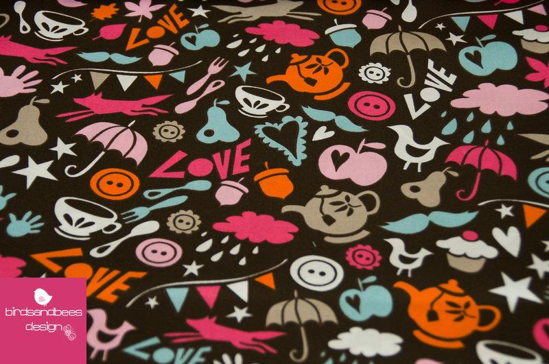 Hamburger Liebe Popeline Lovely Things Schoko-pink