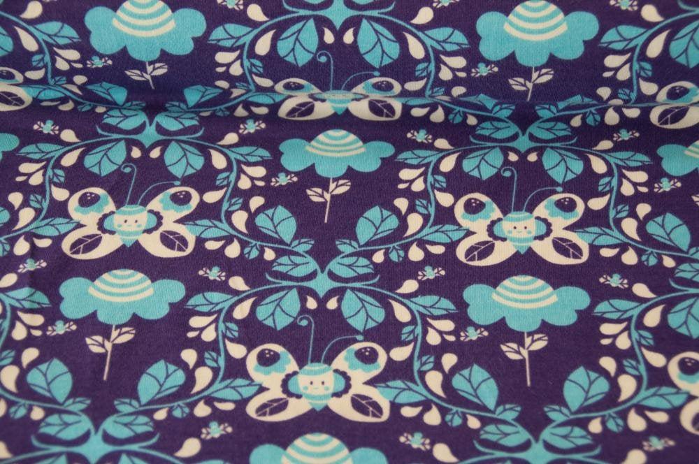 Jersey JOY Schmetterling lila Öko-Tex-Standard