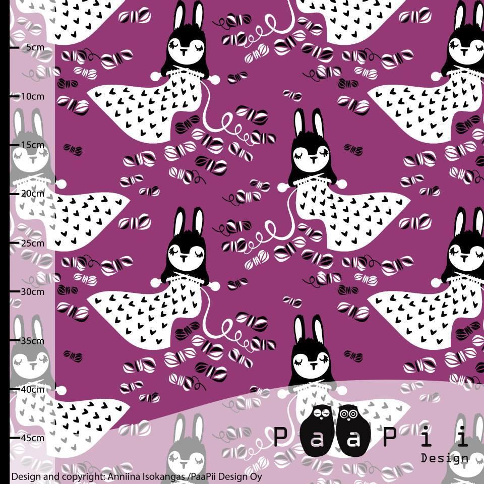 Linnea Bunny Knitting Purple Paapii Design