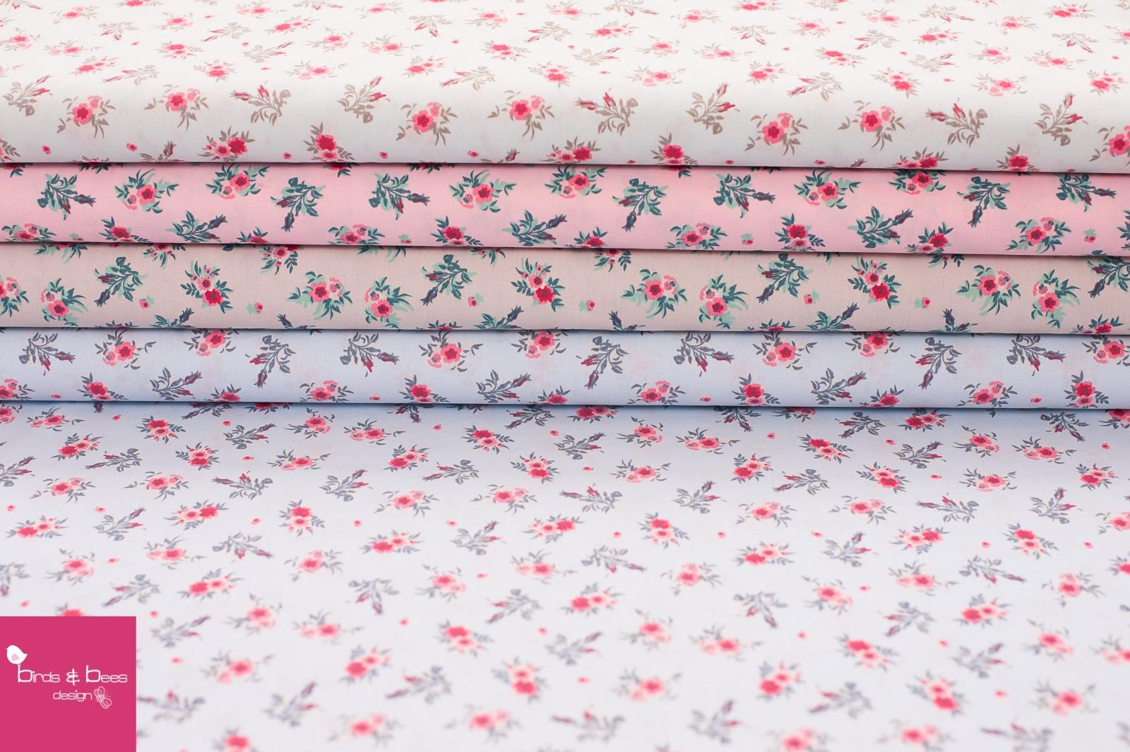Baumwolle Rosen blau gestreift 4