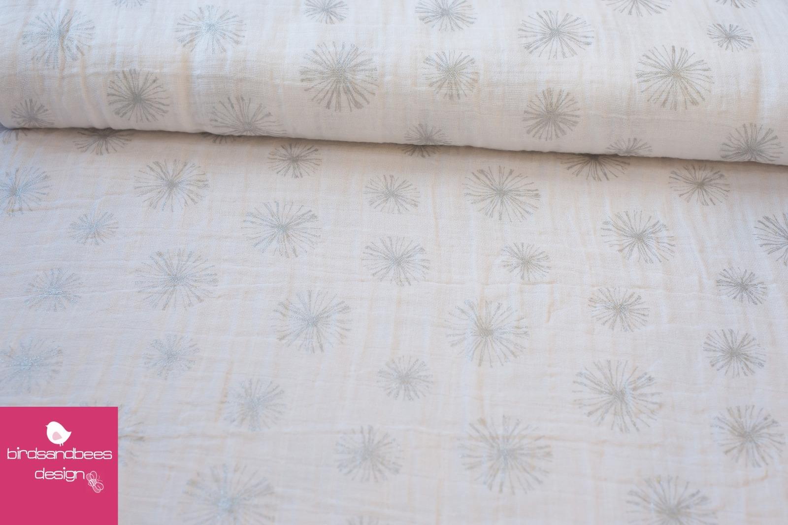 Double Gauze Pusteblumen weiß-silber 3