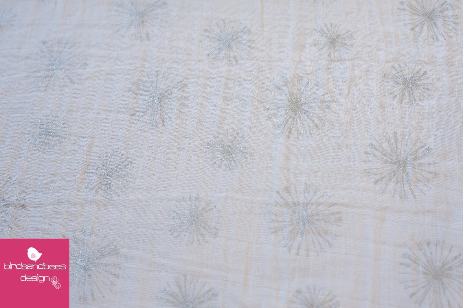 Double Gauze Pusteblumen weiß-silber 4
