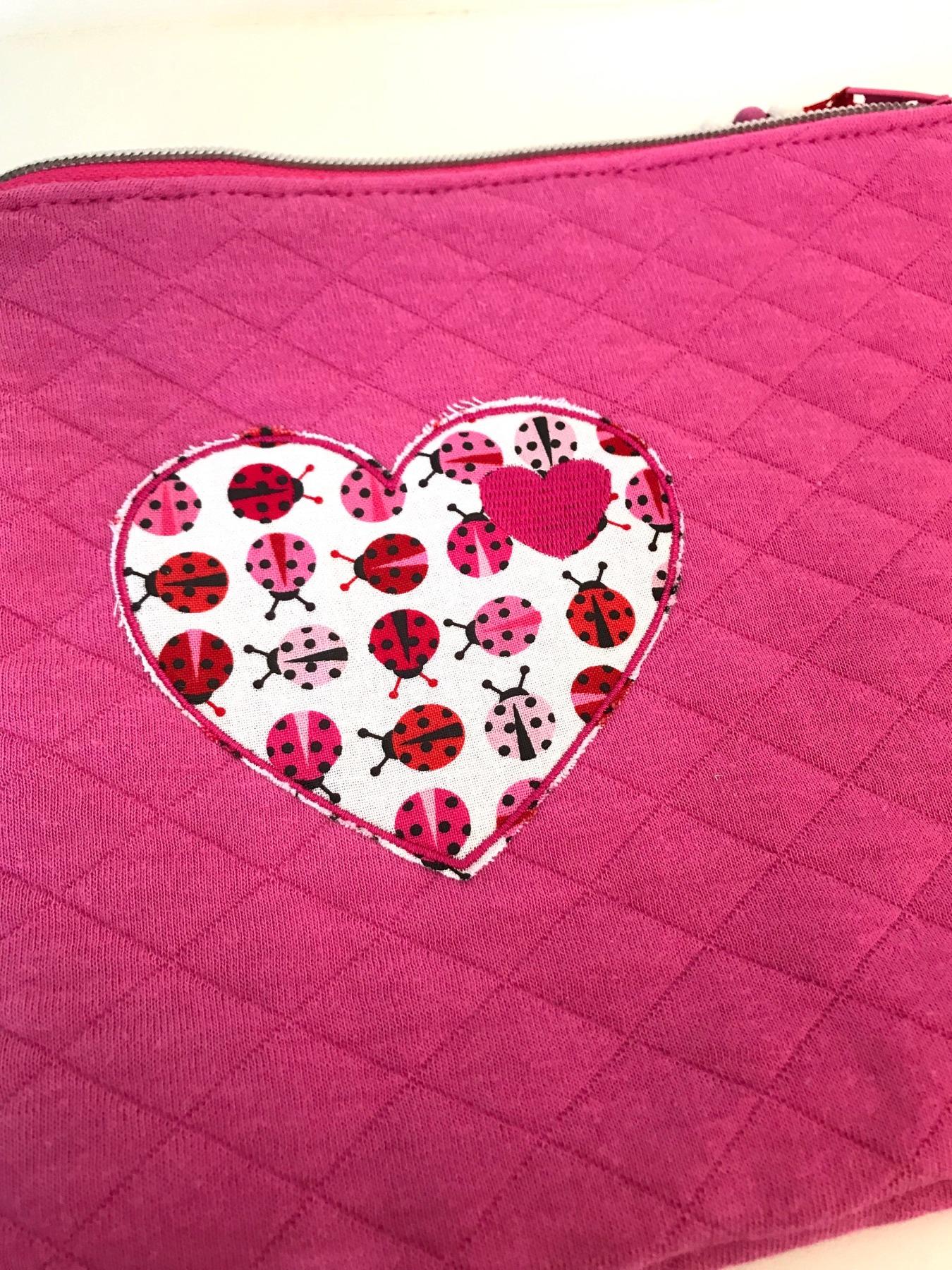 Täschchen Marienkäfer-Herz pink M 5