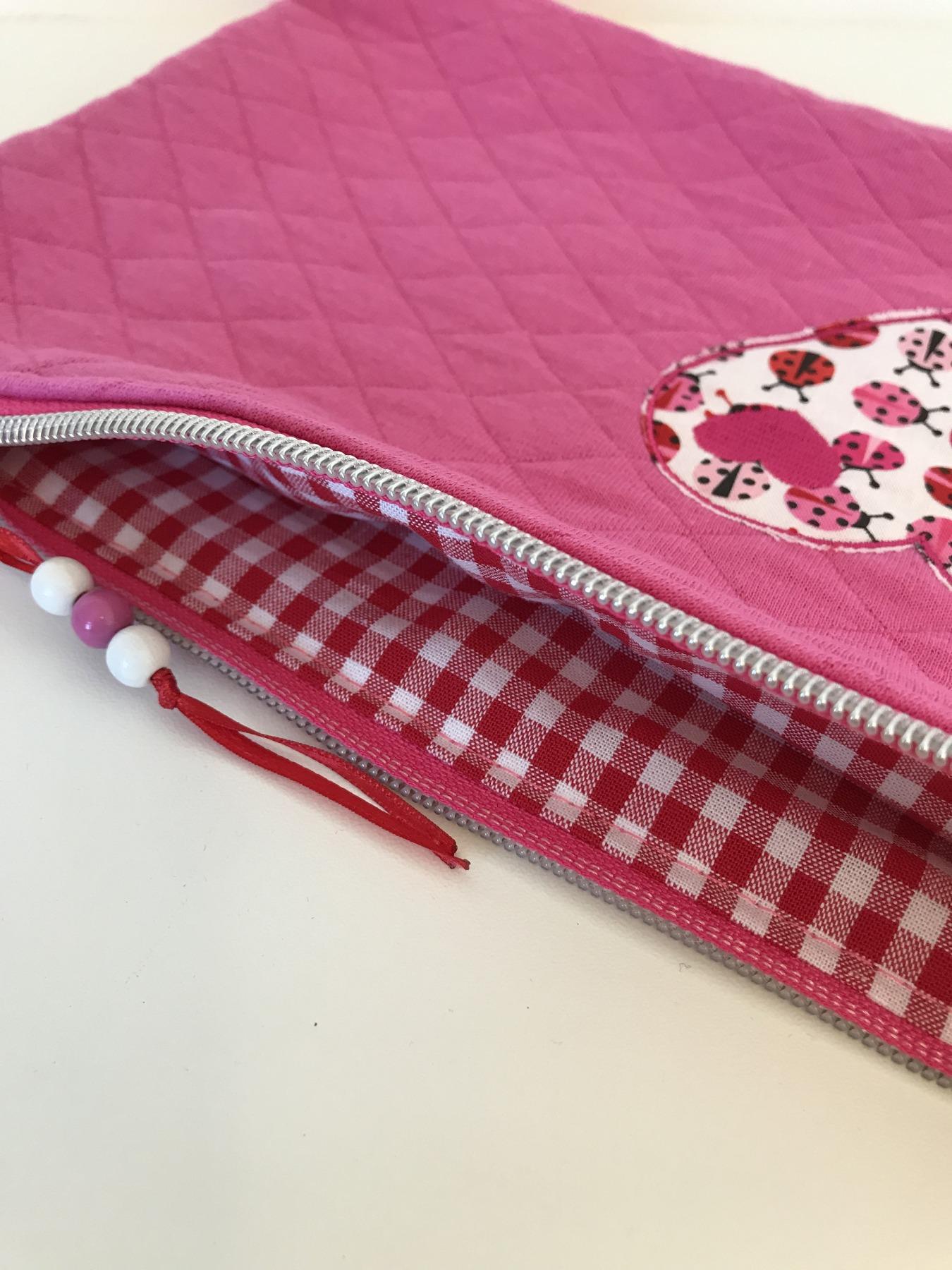 Täschchen Marienkäfer-Herz pink M 4