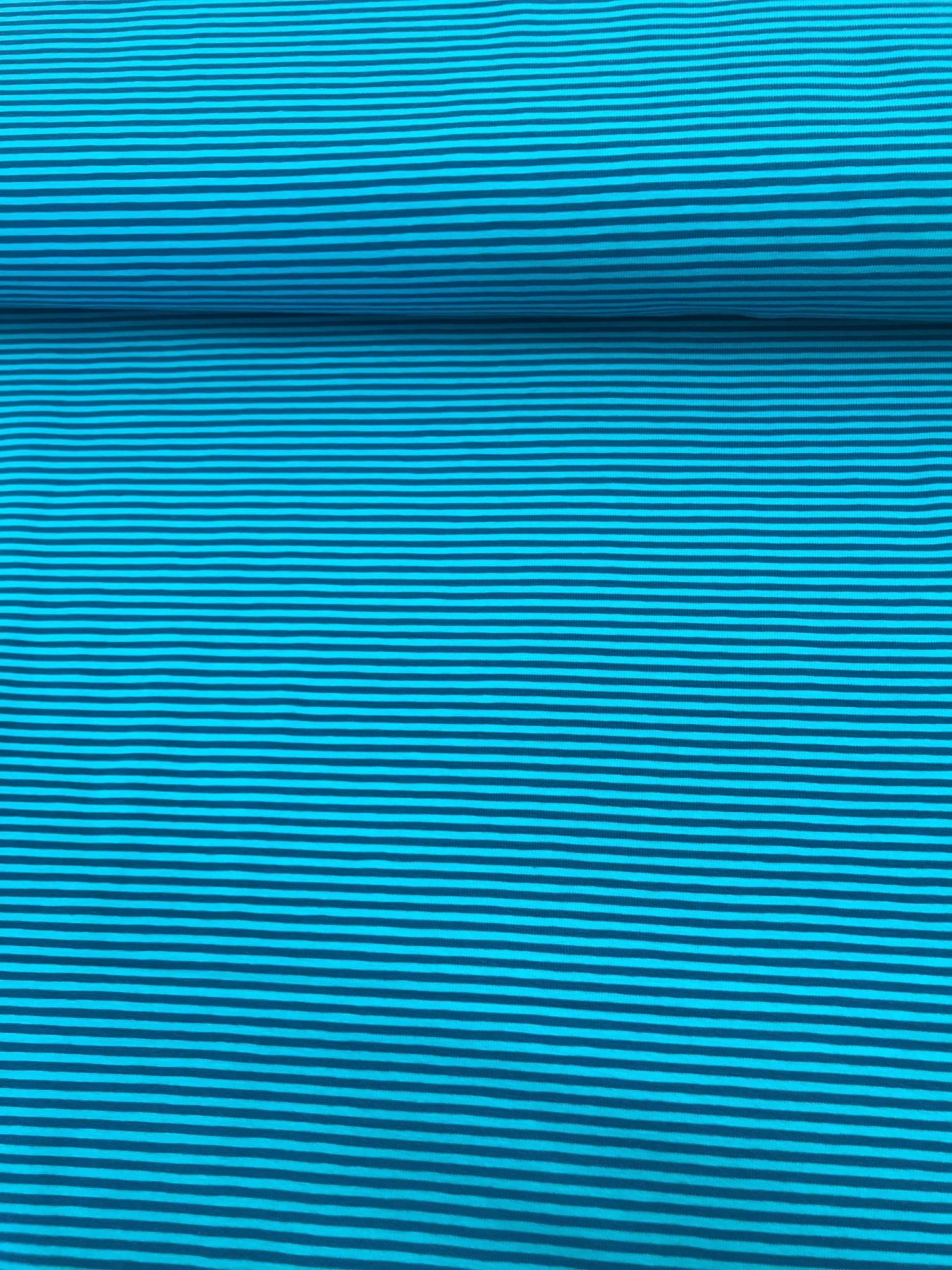 Baumwoll-Jersey Ringel blau-Türkis 2