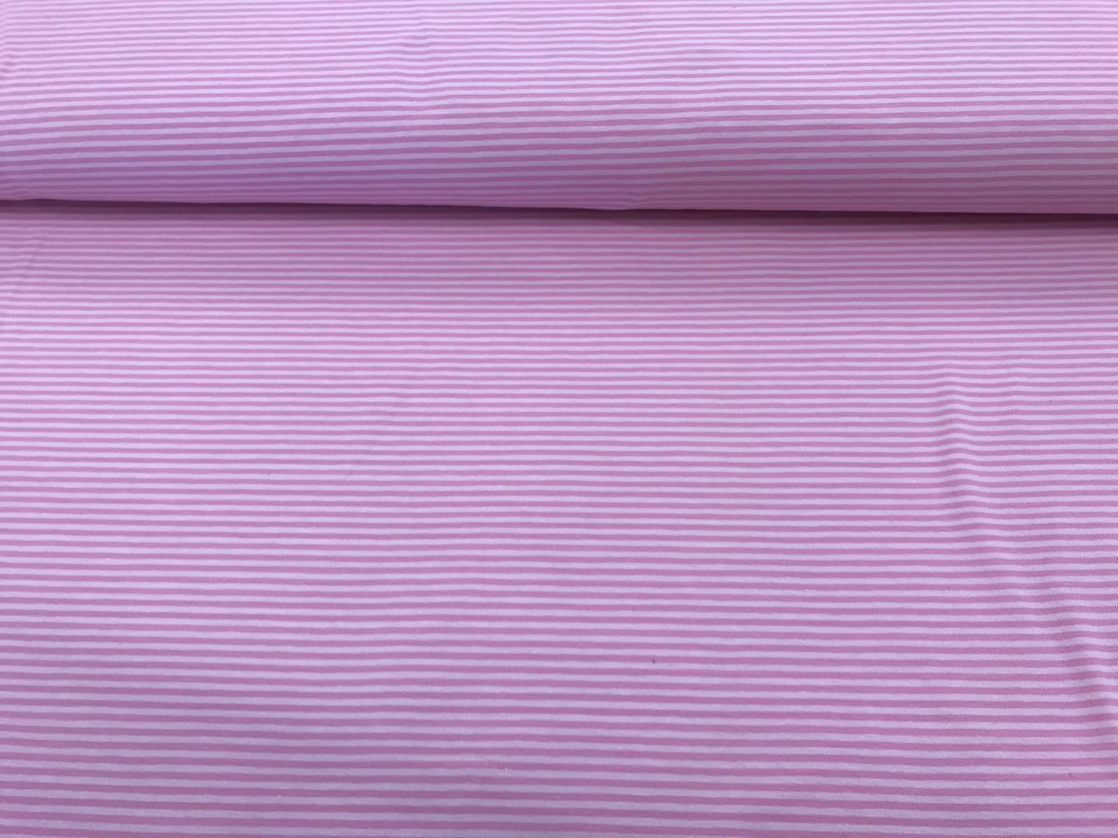 Baumwoll-Jersey Ringel rosa-pink 2