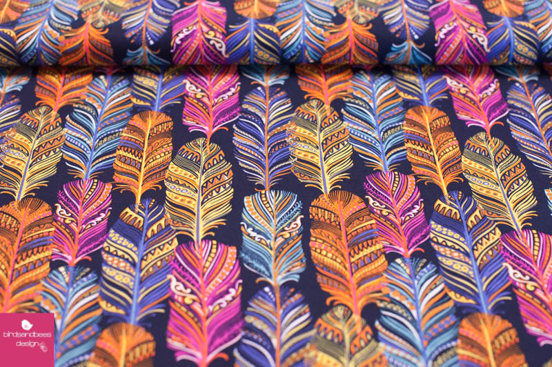 Indian summer feathers by Michael Miller