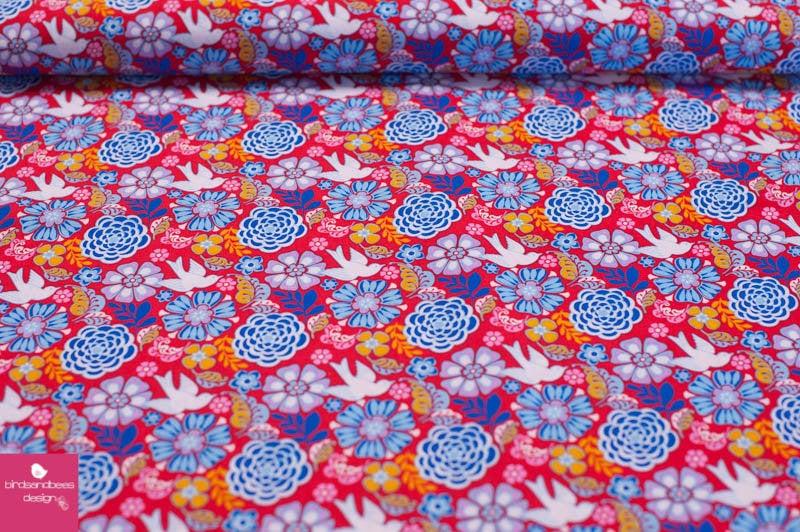 Folk Frieda flowers by David Textiles
