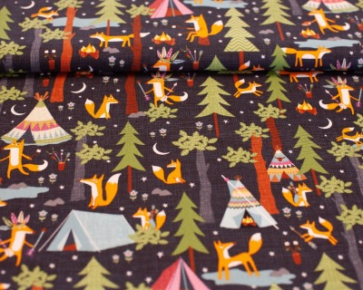 Camping fox by Timeless Treasures
