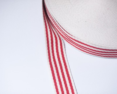 Gurtband STREIFEN 1m weich 40mm Rot-Natur