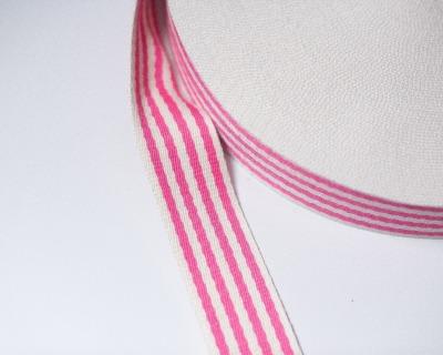 Gurtband STREIFEN 1m weich 40mm Pink-Natur