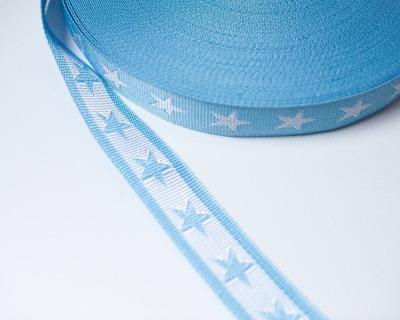 Gurtband Stern 1m 40mm Hellblau Weiß