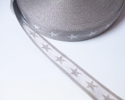 Gurtband Stern 1m 40mm Hellgrau Weiß