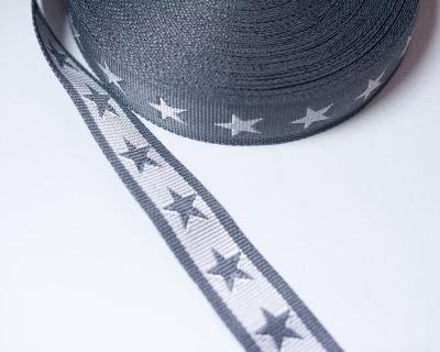 Gurtband Stern 1m 40mm Grau Weiß