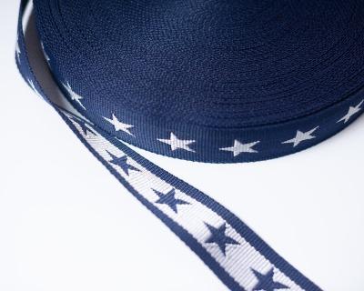 Gurtband Stern 1m 40mm Naviblau- Weiß