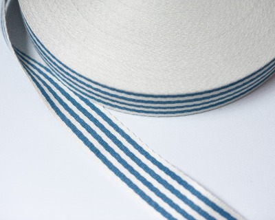 Gurtband STREIFEN 1m weich 40mm Blau-Natur