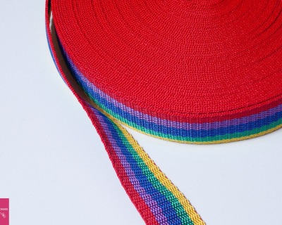 Gurtband Stern 1m 30mm - Regenbogen