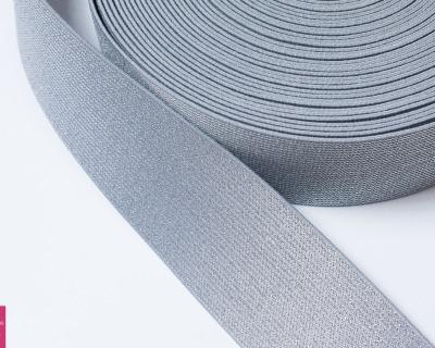 Gummiband Glitzer 1m 50mm Grau Silber