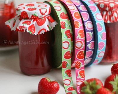 Webband Strawberry Picking lila Hamburger Liebe
