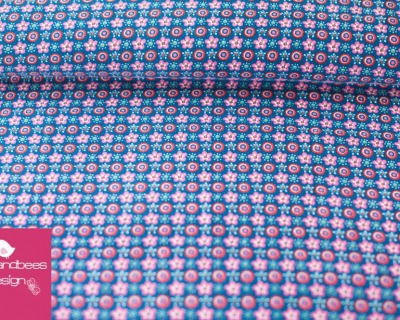 OSTERSAND Feincord Blümchen jeansblau