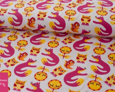 FOXES OWLS pink BW Jersey von