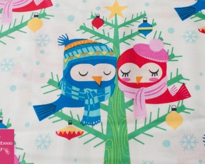 Christmas Lovebirds white by Michael Miller