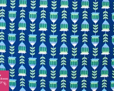 Harvest Blossom Feincord Eicheln blau