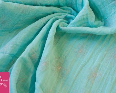 Double Gauze Pusteblumen mint-silber