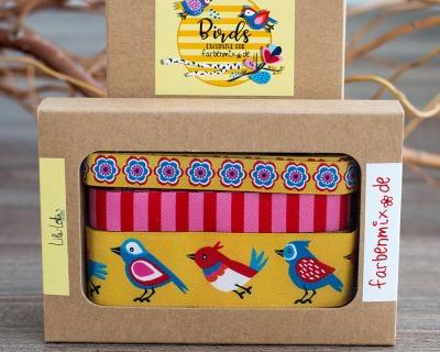 Borten Designer Kollektion Birds Gelb Lila-Lotta