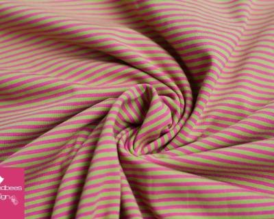 Baumwoll-Jersey Ringel grün-pink