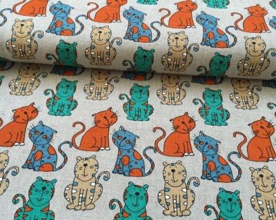 PAULA Baumwoll-Leinen Katzen