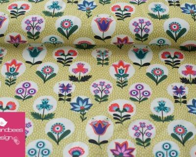 SAMARA Blumen hellgrün BW Jersey von