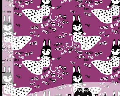 Linnea Bunny Knitting Purple Paapii Design