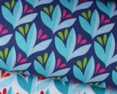 EDEN Leafy Canopy blau-rot Popeline by