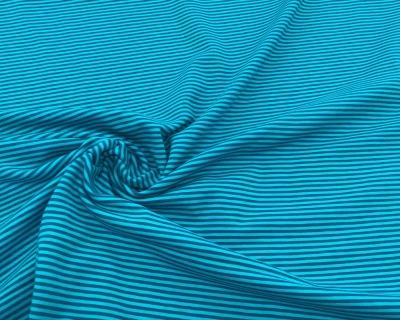 Baumwoll-Jersey Ringel blau-Türkis