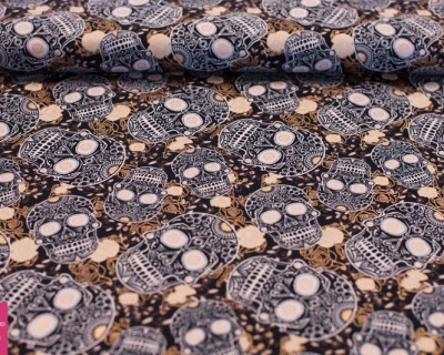 SKULLS black&gold by David Textiles