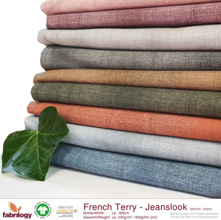 Bio French Terry Jeanslook Sky blue