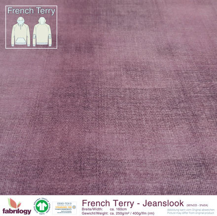 Bio French Terry Jeanslook RoseWood