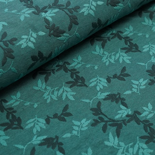 Bio-Relief-Jacquard Shiny Leaves smaragd
