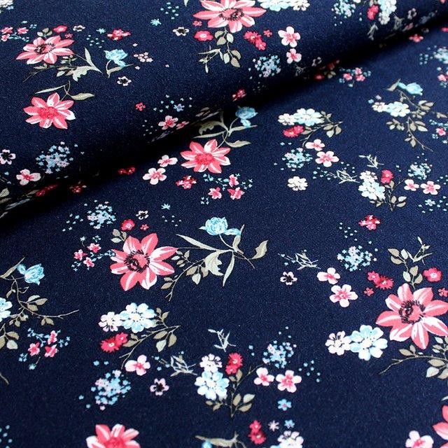 Blauband Stoffpaket Blumen auf Blau 2