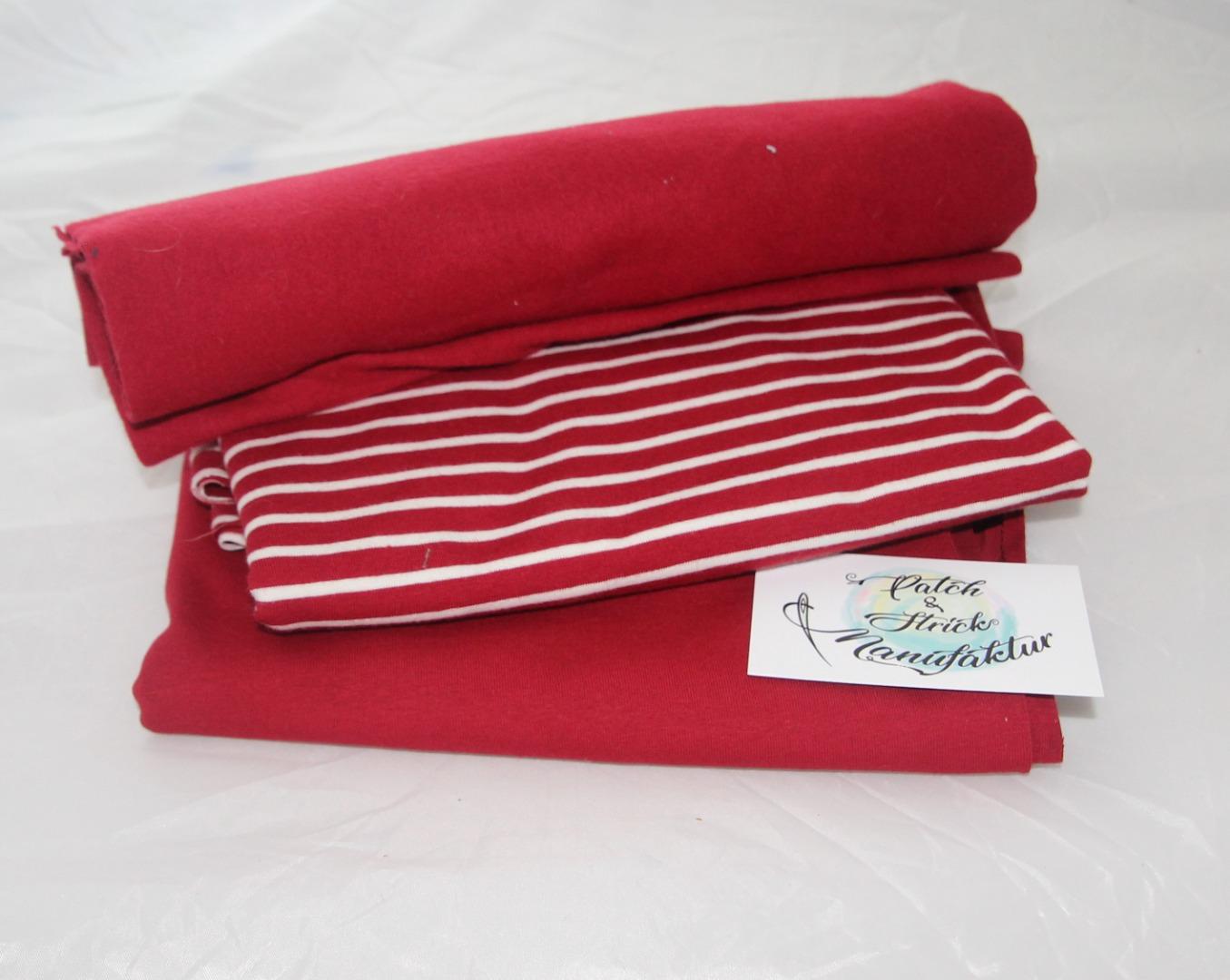 Stoffpaket Streifen in rot Bio Qualität