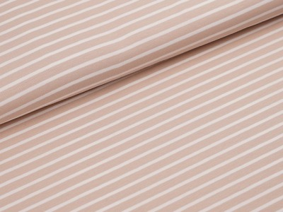 Streifen Jersey Macadamia/weiß