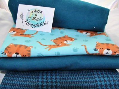 Stoffpaket Tiger Jamie in blau Biostoffpaket
